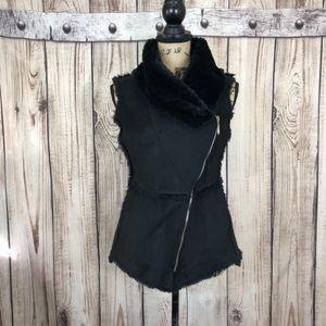 WHBM Black Faux Fur Suede Vest XXS